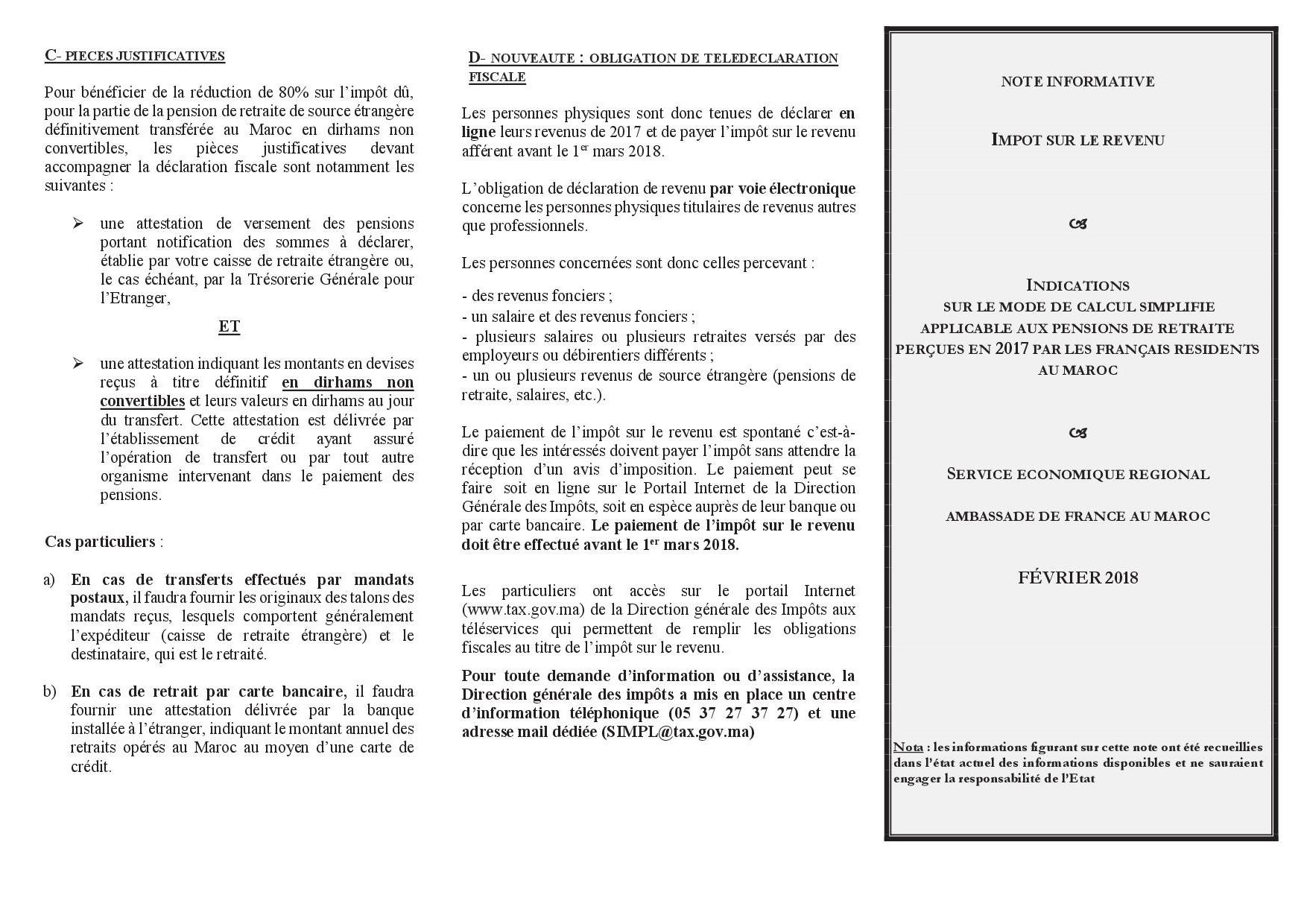 Depliant De Calcul De L Ir Les Consulats Generaux De France Au Maroc